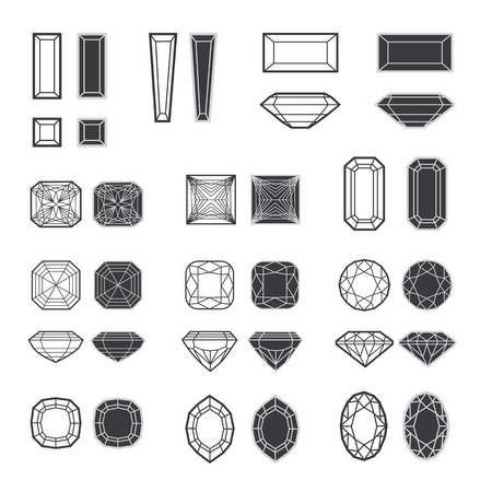 Vector set of diamond design elements - cutting samples Illustration