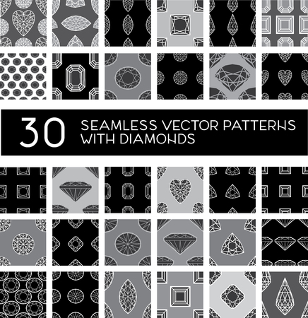 faceting: Vector big set of thirty seamless pattern from diamond - design elements
