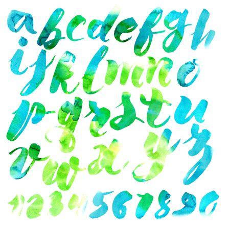 roman alphabet: Handmade Roman alphabet - watercolor style