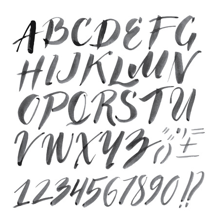roman alphabet: Vector handmade Roman alphabet - drawn by ink and brush Illustration
