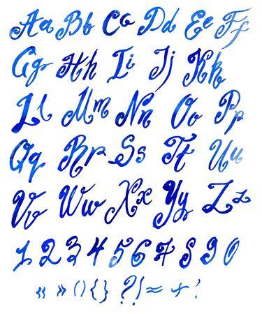 roman alphabet: Handmade Roman alphabet watercolor