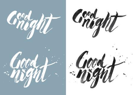 enten: Vector Handmade zin GOOD NIGHT - getekend door inkt en borstel