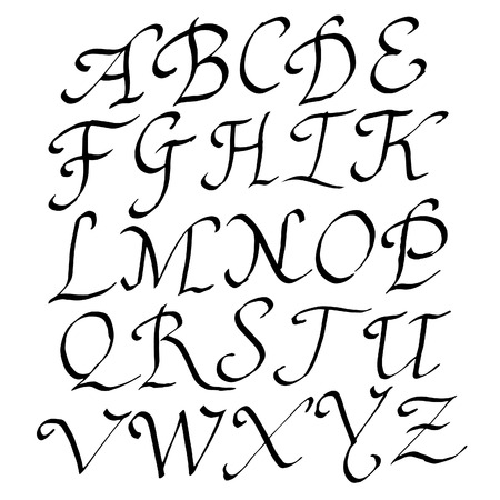 roman alphabet: Vector Handmade Roman alphabet - drawn by ink