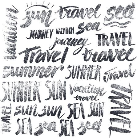 old style lettering: Set of signs handmade calligraphy: travel, vacation, sun, sea