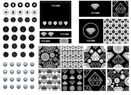 Big set of seamless pattern from diamond design elements photo