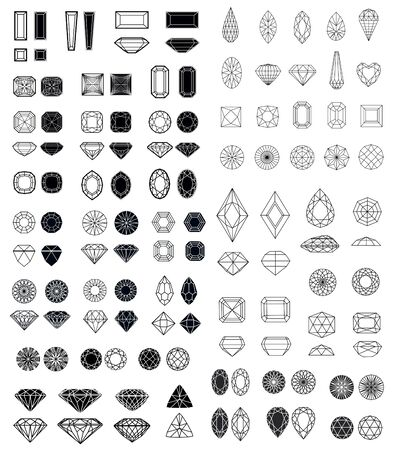 samples: Big set of diamond design elements - cutting samples Stock Photo