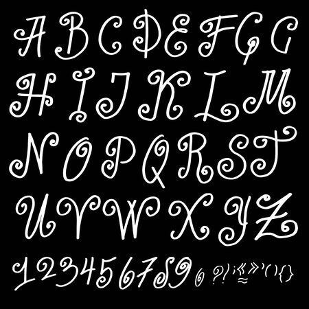 roman alphabet: Vector Handmade Roman alphabet - drawn by ink
