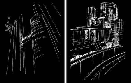 megapolis: Vector background with freehand drawings of city