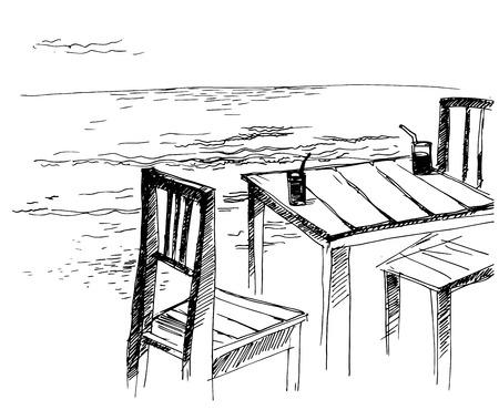 Vector illustration based on freehand sketch - sea, vacation Illustration