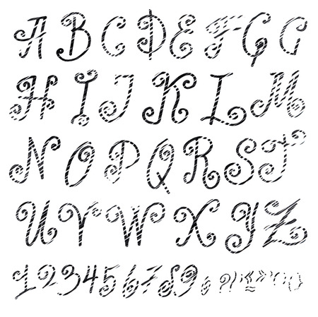 roman alphabet: Handmade Roman alphabet - drawn by ink and brush