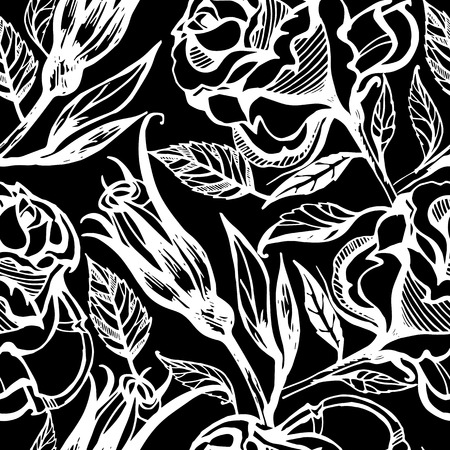 seamless floral: Vector seamless floral pattern, freehand drawing - flowers and leafs Illustration