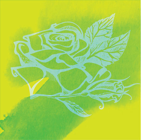 rose silhouette: Vector watercolor floral background, freehand drawing - flowers and leafs