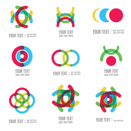 Vector set of modern abstract forms logos -  colorful design Illustration