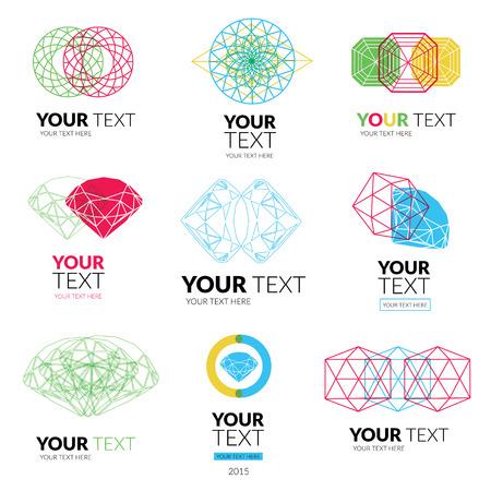 faceting: Vector set of modern diamond logos -  colorful design