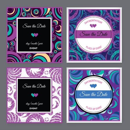 ollection: Set of vector floral Save the Date for events design Illustration