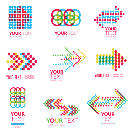Vector set of modern abstract forms logos - colorful design