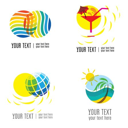 seacoast: Vector set of modern abstract forms logos -  colorful design Illustration