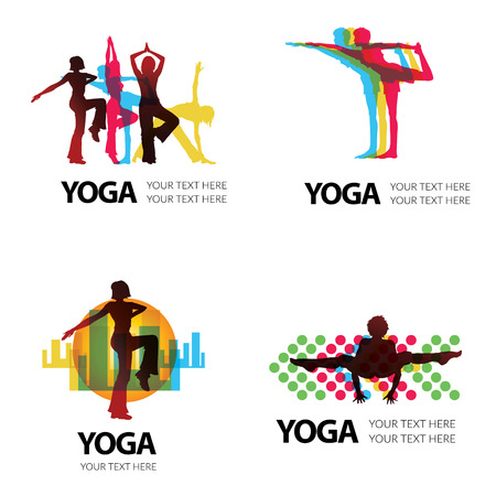 simple logo: Vector set of modern abstract forms logos -  colorful design Illustration