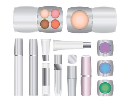 lip stick: Set of vector cosmetic packages samples for product design