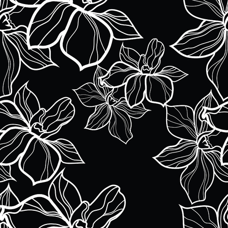 flower sketch: seamless floral pattern, freehand drawing - flowers and leafs