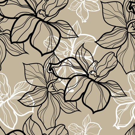 seamless floral pattern, freehand drawing - flowers and leafs