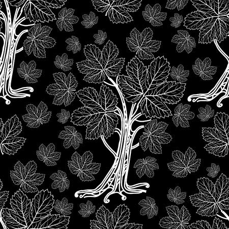 botanics: seamless floral pattern with tree