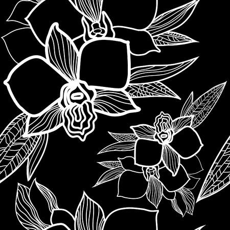 silhouette fleur: seamless floral pattern, dessin à main levée - fleurs et feuilles