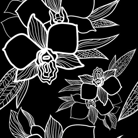 orchid: seamless floral pattern, freehand drawing - flowers and leafs
