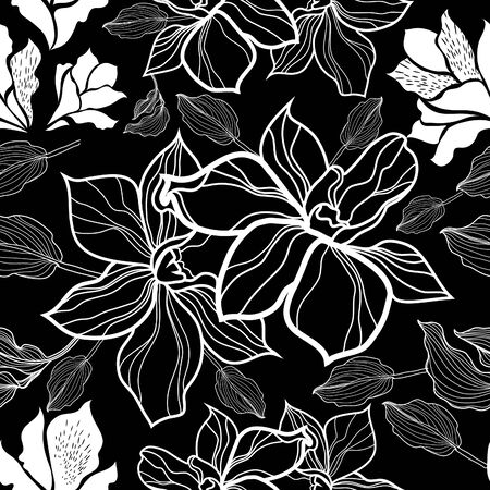 flower sketch: Seamless vector floral pattern with roses (From my big Seamless collection)