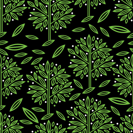 botanics: Vector seamless floral pattern with tree leafs Illustration