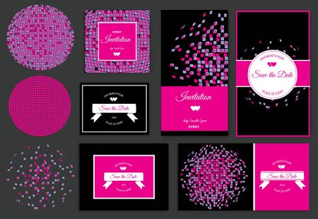discoball: Set of discoball Save the Date for events design