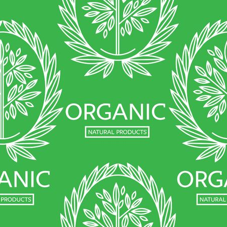 botanics: Vector seamless floral pattern with Natural product stamp Illustration