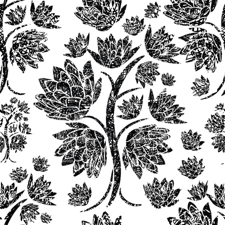 grunge floral: Seamless vector floral grunge pattern (From my big Seamless collection)