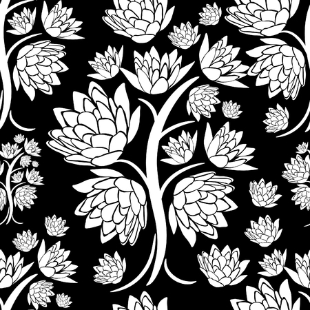 seamless floral pattern: Vector seamless floral pattern with tree leafs Illustration