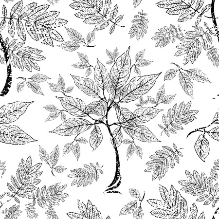 grunge pattern: Vector seamless floral grunge pattern with tree leafs