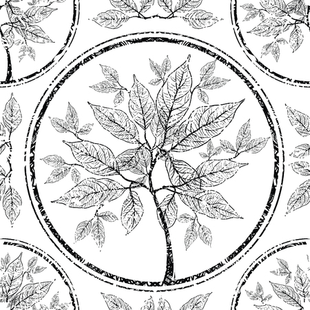 retro pattern: Vector seamless floral grunge pattern with tree leafs