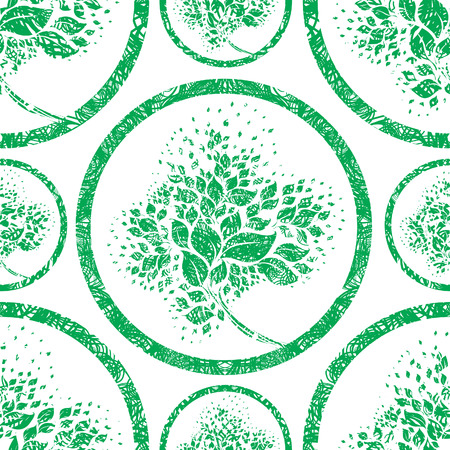 motif floral: Vector seamless grunge floral avec des feuilles d'arbres