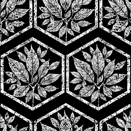 grunge tree: Vector seamless floral grunge pattern with tree leafs