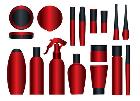 package: Set of vector cosmetic packages samples for product design: lipstick; mascara; nailpolish