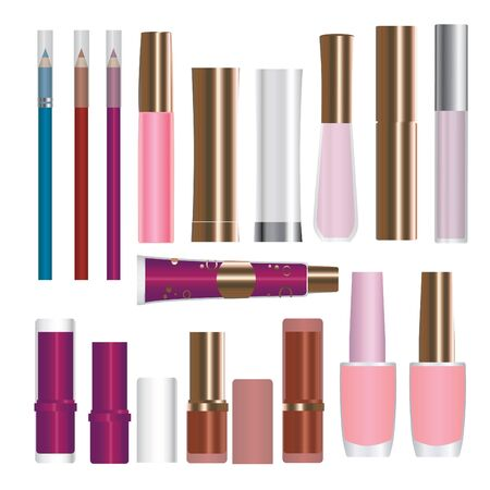 nailpolish: Set of vector cosmetic packages samples for product design: lipstick; mascara; nailpolish