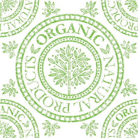 grunge pattern: Vector seamless floral grunge pattern with Natural product stamp Illustration
