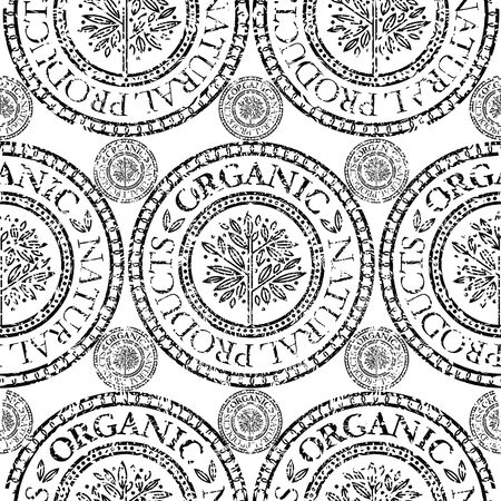 botanics: Vector seamless floral grunge pattern with Natural product stamp Illustration