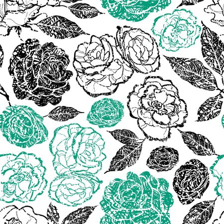 grunge pattern: Seamless vector floral grunge pattern with plants and flowers