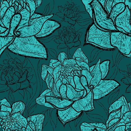 grunge floral: Seamless vector floral grunge pattern with plants and flowers