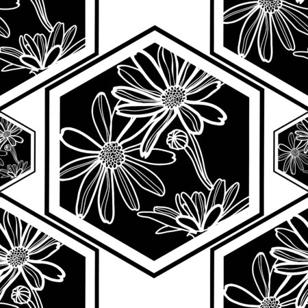 tile pattern: Vector seamless floral pattern with tree