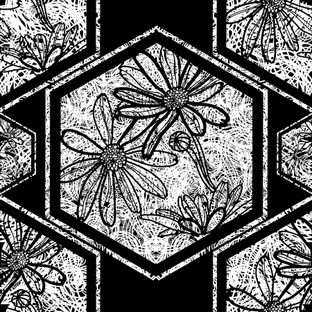botanics: Vector seamless floral grunge pattern with tree leafs