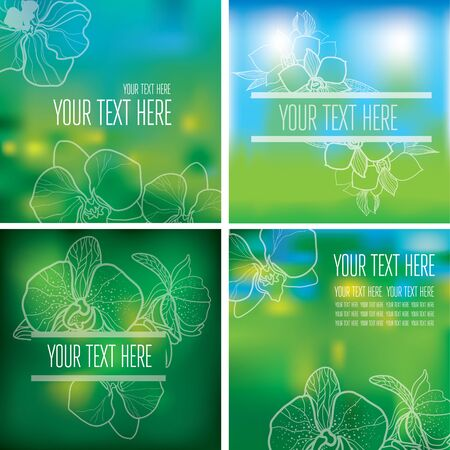 natural backgrounds: Vector set of organic natural frames backgrounds - design elements Illustration