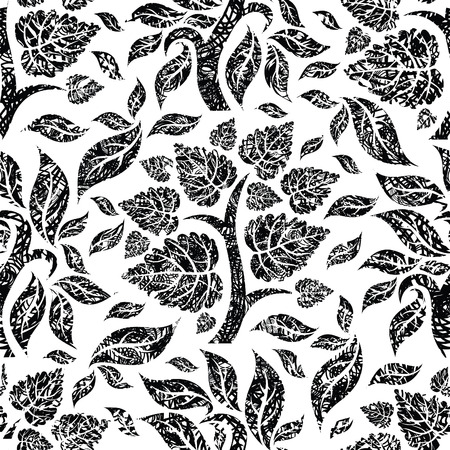 botanics: Vector seamless floral pattern with tree