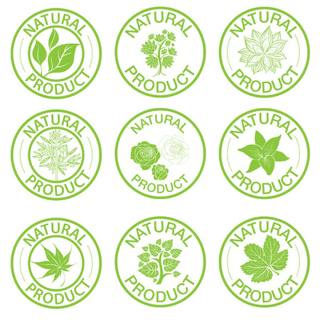 art product: Set of vector stamps with leafs - natural product