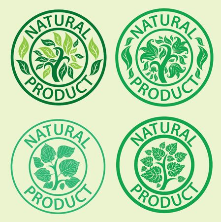 Set of vector stamps with leafs - natural product